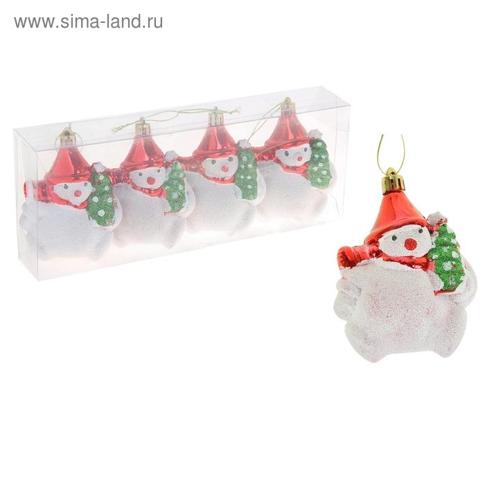 """Ёлочные игрушки """"Снеговик с ёлочкой"""" (набор 4 шт.)"""