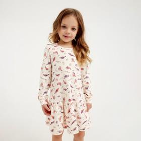 Платье для двочки, цвет бежевый/рис. птички, рост 104 см