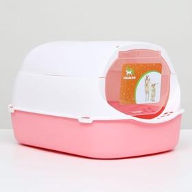 Туалет-домик с фильтром, 43 х 32 х 28 см, бело-розовый