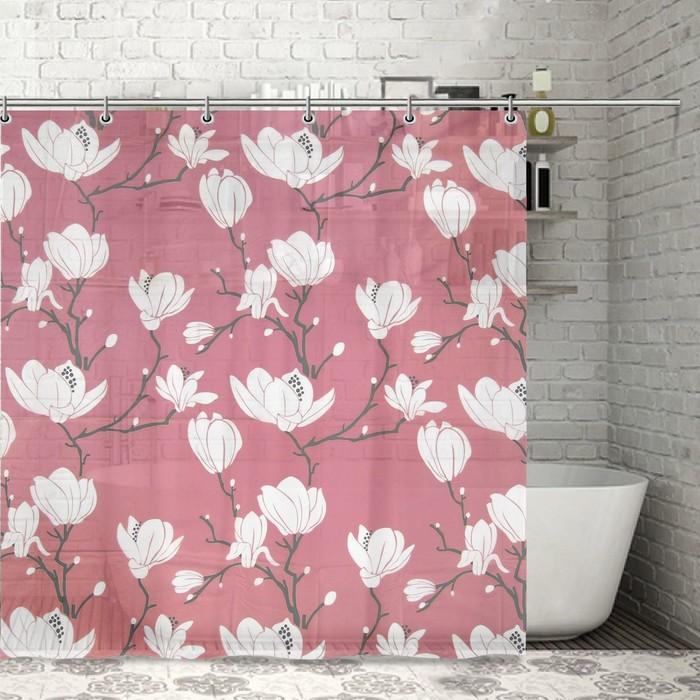 """Штора для ванной 180х180 см """"Цветущая магнолия"""", EVA, цвет розовый"""