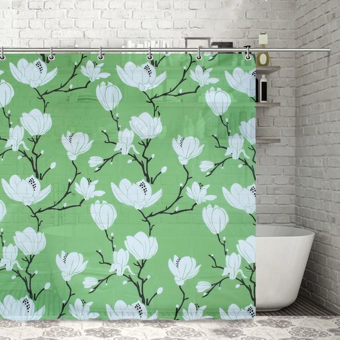 """Штора для ванной 180х180 см """"Цветущая магнолия"""", EVA, цвет зелёный"""