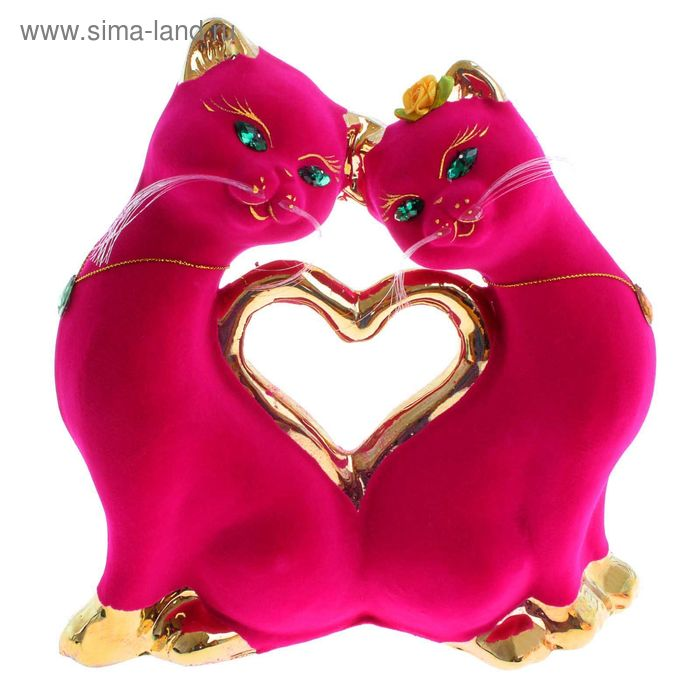 """Копилка """"Кошки в форме сердца"""" флок, булат, розовая"""
