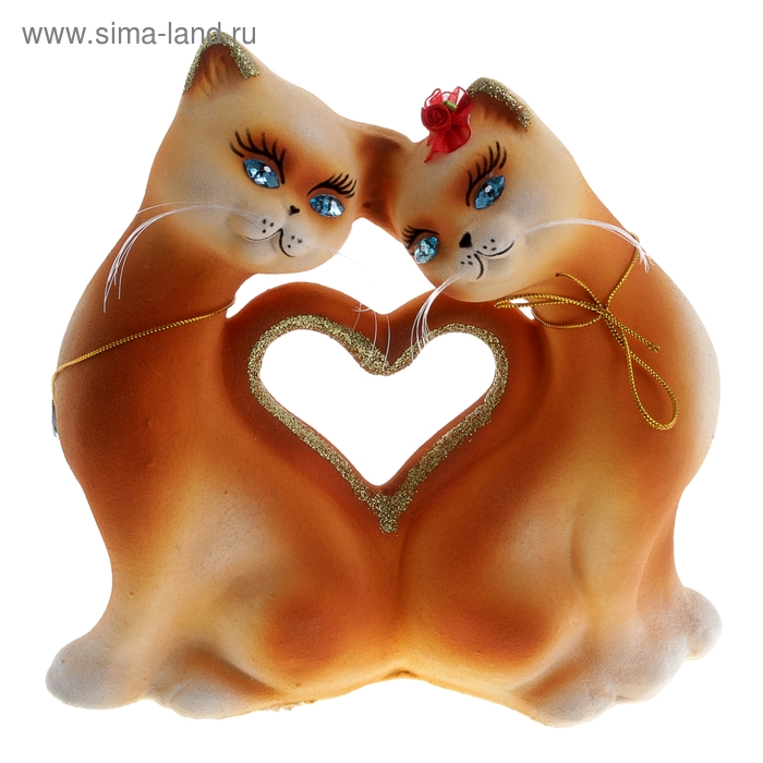 """Копилка """"Кошки в форме сердца"""", флок, рыжая"""
