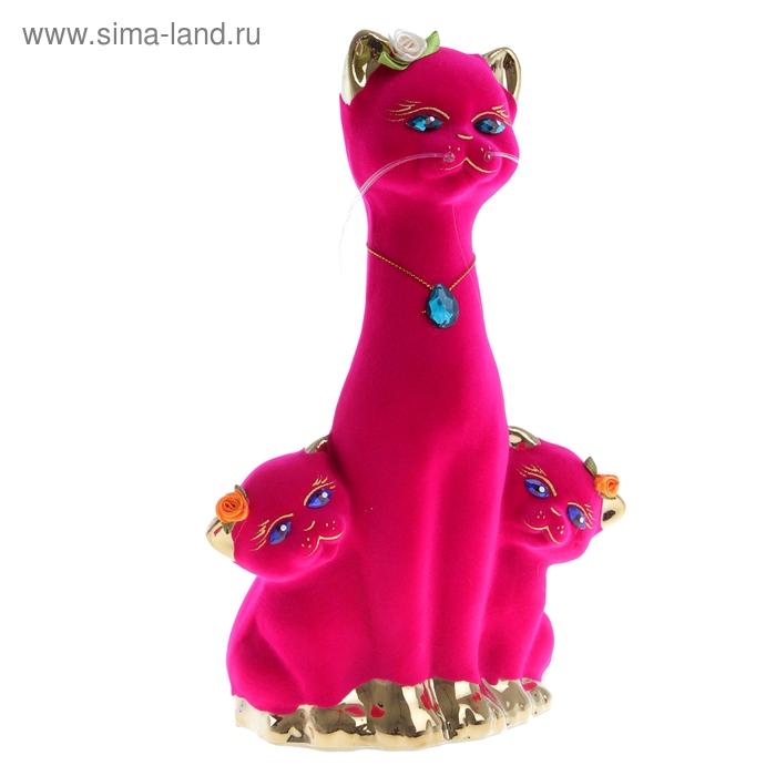 "Копилка ""Кошка с котятами"" флок, булат, розовая"