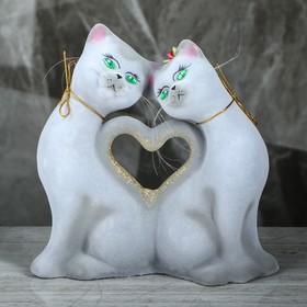 """Копилка """"Кошки Сердце"""", покрытие флок, серая, 25 см"""