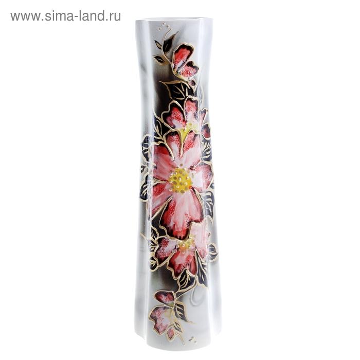 """Ваза """"Виола"""" цветы, розовая, задувка"""
