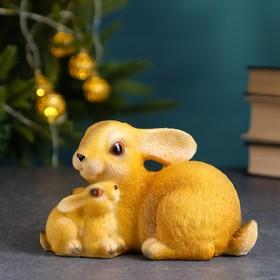 "Копилка ""Заяц с зайчонком"" рыжий 15х8х8см"