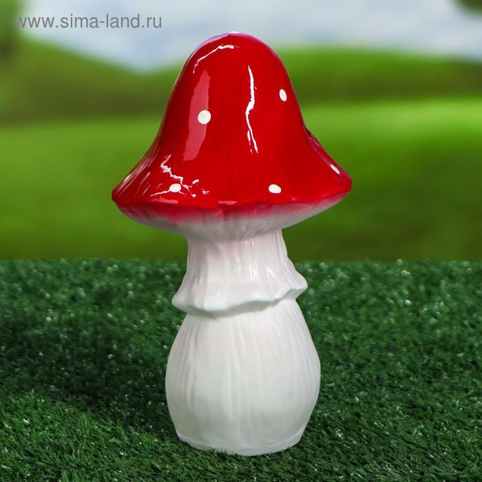 """Садовая фигура """"Гриб мухомор"""" малая, высокая шляпка"""