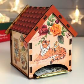 """Чайный домик """"Тигры и цветы"""" 9,5х10,5х12 см"""