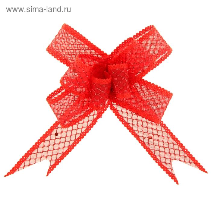 """Бант-бабочка №2,3 """"Блестящая сетка"""", цвет красный"""