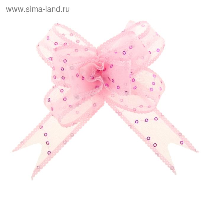 """Бант-бабочка №2,3 """"Пайетки"""", цвет розовый"""