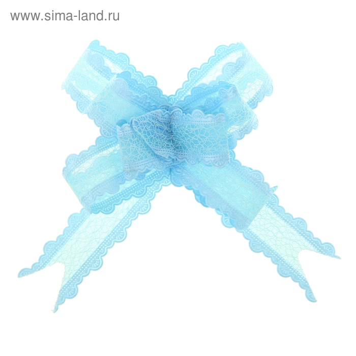 "Бант-бабочка №2,5 ""Паутинка"", цвет голубой"