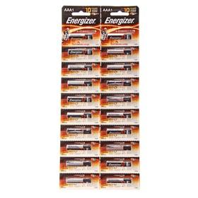 Батарейка алкалиновая Energizer, AAA, LR03-20BL, отрывной блистер, 20 шт. Ош