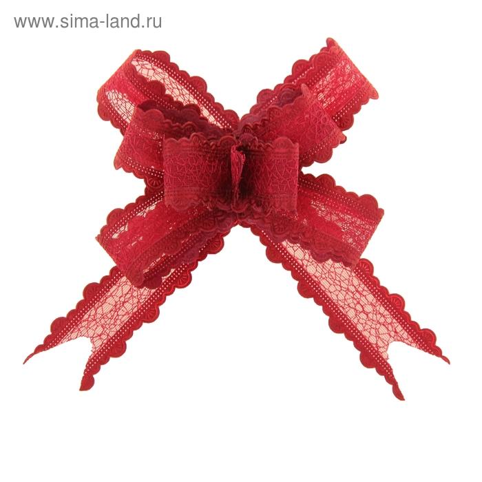 "Бант-бабочка №2,5 ""Паутинка"", цвет бордовый"