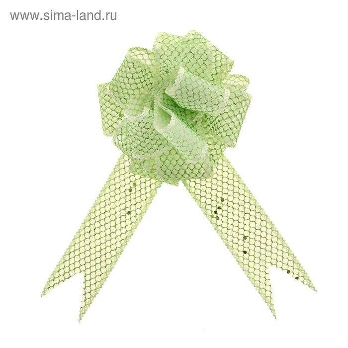 """Бант-шар №3,8 """"Блестящая сетка"""", цвет зелёный"""
