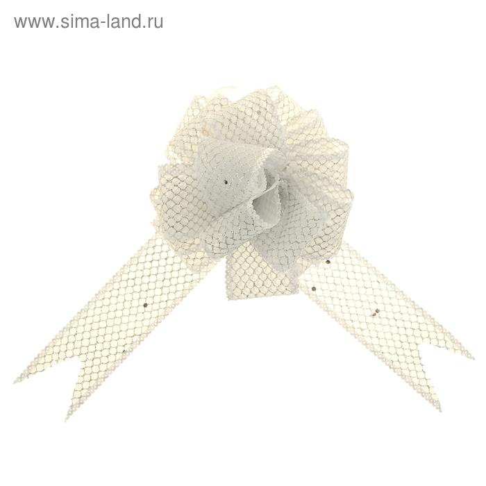 "Бант-шар №3,8 ""Блестящая сетка"", цвет белый"