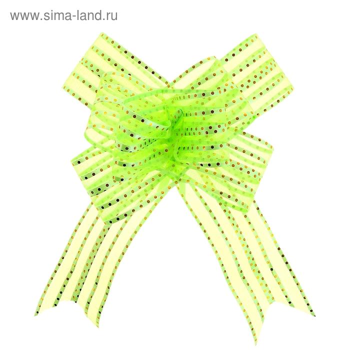 """Бант-бабочка №5 """"Золотой горох"""", цвет зелёный"""