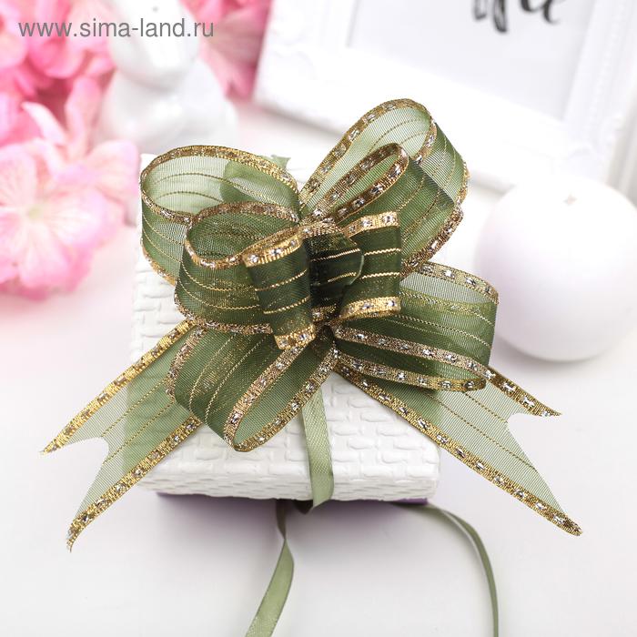 """Бант-бабочка №2,5 """"Золотой кант"""", цвет зелёный"""