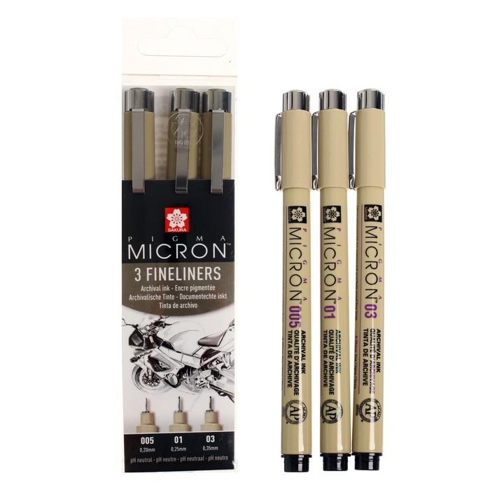 Набор ручек капиллярных Sakura Pigma Micron 3 штуки (0.2; 0.25; 0.35), черный