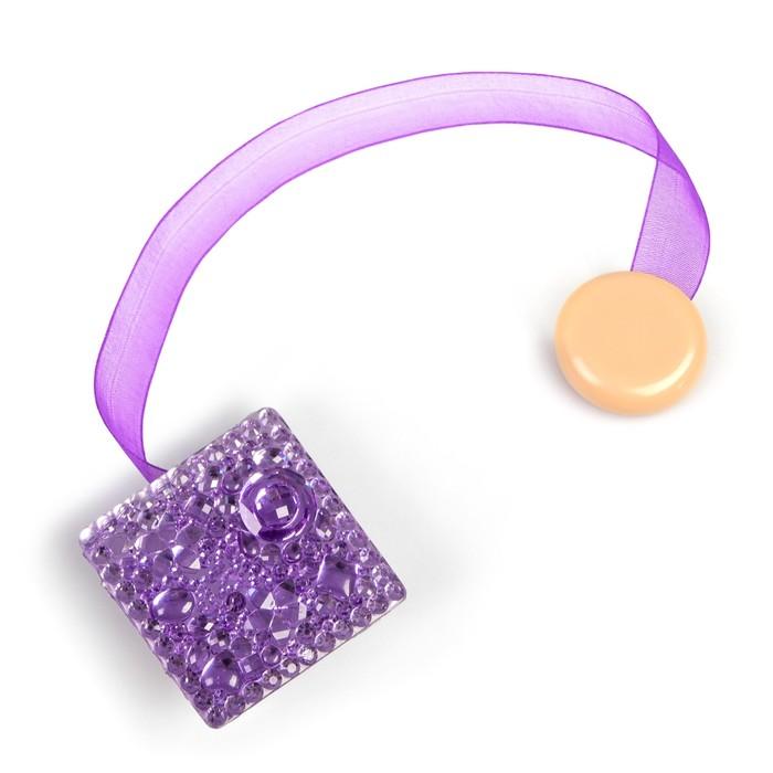 Подхват для штор «Сверкающий квадрат», 5 × 5 см, 32 см, цвет фиолетовый