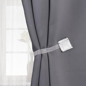 Подхват для штор «Сверкающий квадрат», 4 × 4 см, цвет серебряный