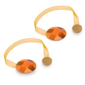 """Подхват для штор на ленте """"Клеточка"""", набор 2шт, цвет оранжевый"""