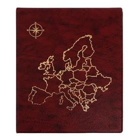 Альбом для монет на кольцах Calligrata Оптима 230*265мм, тиснение Карта, к/з корич