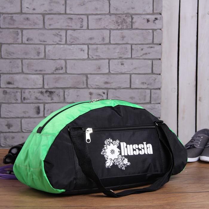 Сумка спортивная, 1 отдел, наружный карман, цвет чёрный/зелёный