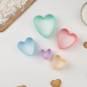 """Набор формочек для печенья """"Сердечко"""" 5шт 4,5-9,5см, цвет МИКС"""