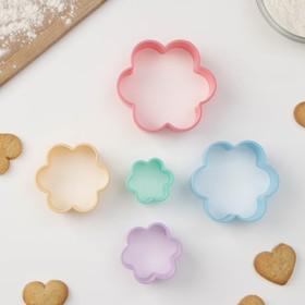 """Набор формочек для печенья """"Цветочек"""" 5шт 4,5-9,5см, цвет МИКС"""