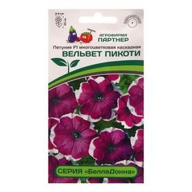 """Семена цветов петуния """"БеллаДонна вельвет пикоти"""" F1 многоцветковая каскадная, 5 шт."""