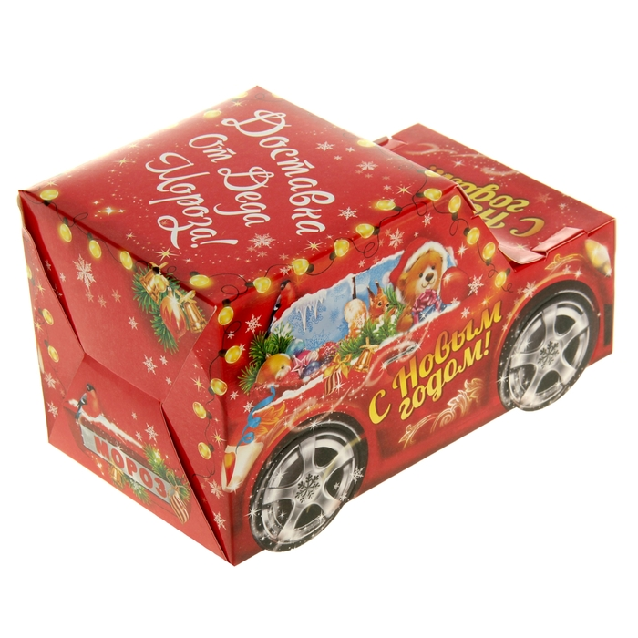Складная коробка «Новогодняя машинка», 23 х 13 см