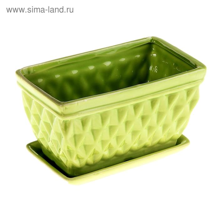 "Кашпо ""Грани"" зелёное"