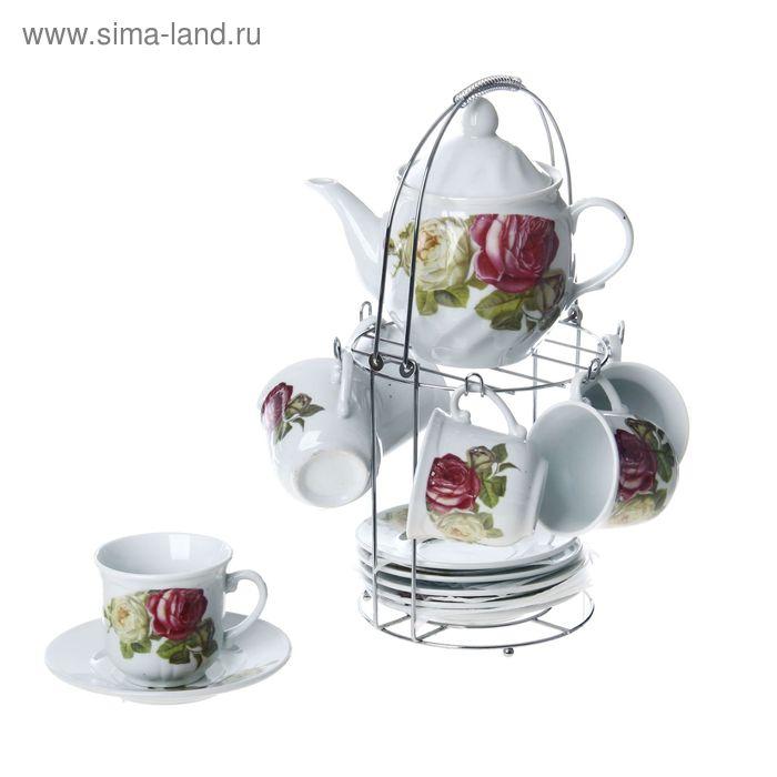 """Сервиз чайный """"Цветочная гирлянда"""", 13 предметов на подставке: 6 чашек 130 мл, 6 блюдец, чайник 600 мл"""