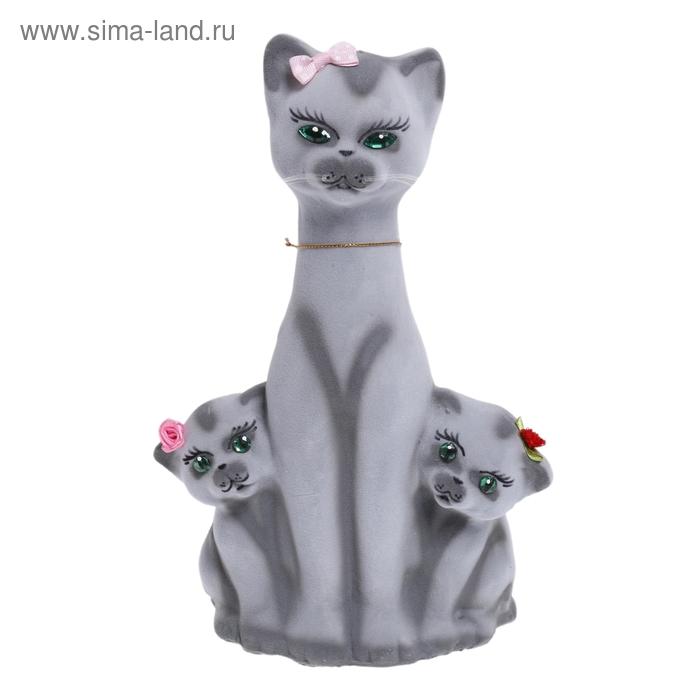 """Копилка """"Кошка с котятами"""" флок, серая"""