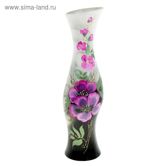"""Ваза напольная """"Натали"""" задувка, розовые цветы"""