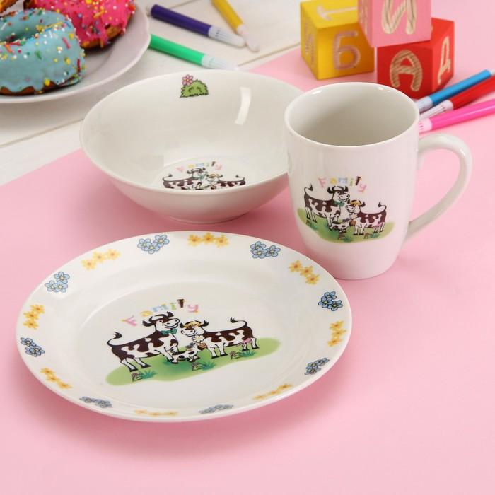 """Набор детской посуды """"Му-му"""", 3 предмета: кружка 280 мл, салатник 15х5 см, тарелка 19 см"""