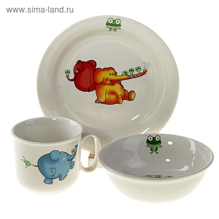 """Набор детской посуды """"Слоник"""", 3 предмета: кружка 160 мл, салатник 12,5х4 см, тарелка d=16 см"""