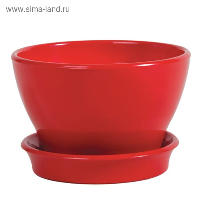 """Кашпо """"Ксения"""" бокарнея, глянец, красное, 7,4 л"""