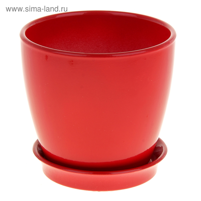 """Кашпо """"Виктория"""" глянец, красное, 1 л"""
