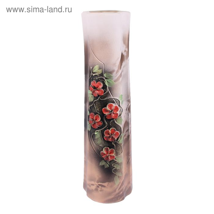 """Ваза напольная """"Фиолет"""" цветы, лепка, коричневая"""