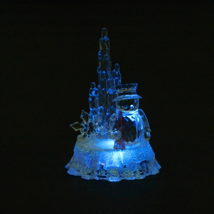 "Игрушка световая ""Снеговик и айсберг"", 9х13 см, батарейки в комплекте"