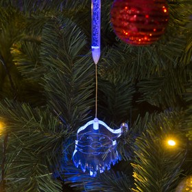 "Игрушка светящаяся подвесная ""Дед Мороз"" на 2 трубках (батарейки в комплекте) 7х8 см"