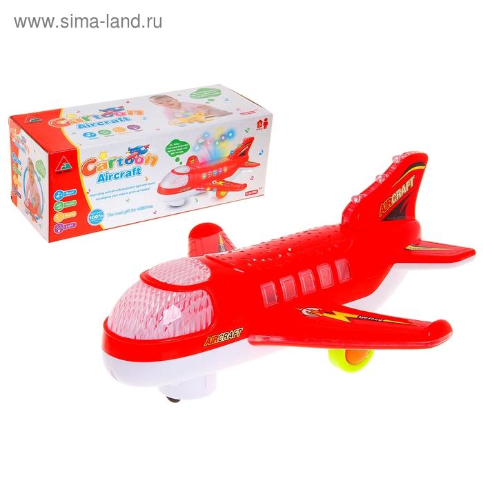 """Самолет """"Пассажирский"""", работает от батареек, световые и звуковые эффекты, цвета МИКС"""