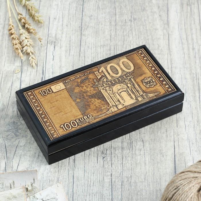 Шкатулка - купюрница «Евро», 17,5х9,5х2,5 см, микс