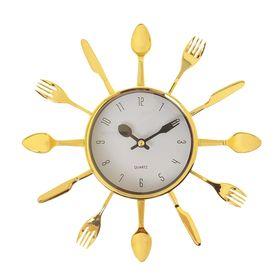 """Часы настенные, серия: Кухня, """"Вилки, ложки, поварешки"""", d=25 см, плавный ход"""
