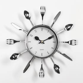"Wall clock, series: the Kitchen, ""Forks, spoons, ladles"", chrome, white dial, d=25 cm"