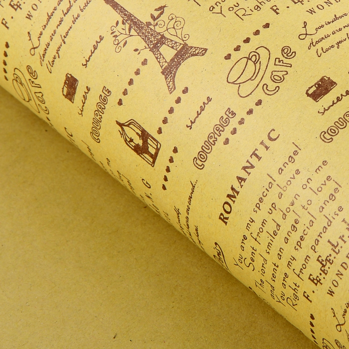 """Бумага упаковочная крафт """"Париж"""", 52 х 73 см"""
