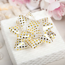 "Bow star No. 7,5 ""Gold polka dots"", color: white"
