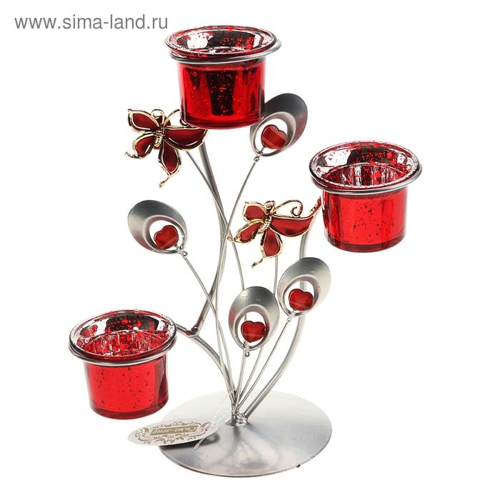 """Подсвечник на 3 свечи """"Бабочки в полёте"""", цвет красный"""